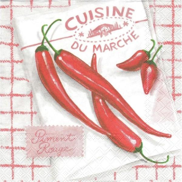 4 Serviettes en papier Piment Rouge Cuisine Torchon Format Lunch - Photo n°1