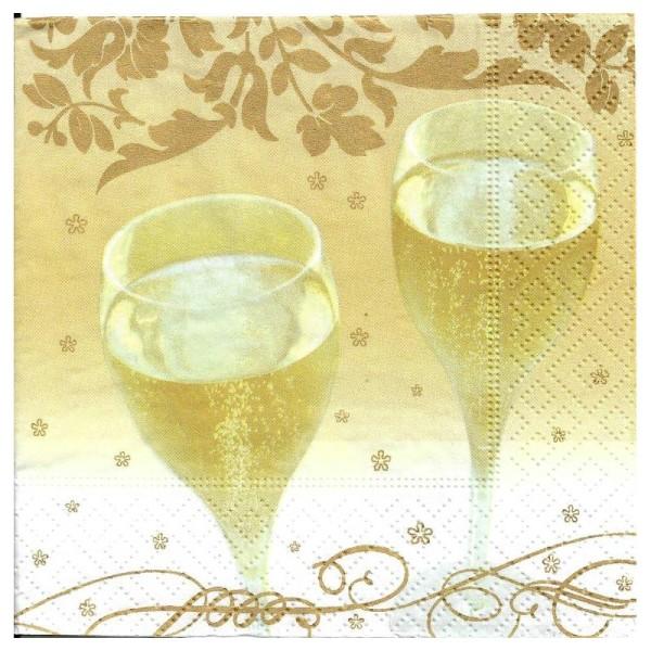 4 Serviettes en papier Champagne Format Cocktail - Photo n°1