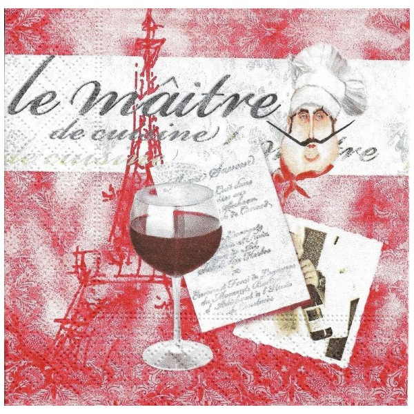 4 Serviettes en papier Le Maître de Cuisine Vin Rouge Format Cocktail - Photo n°1