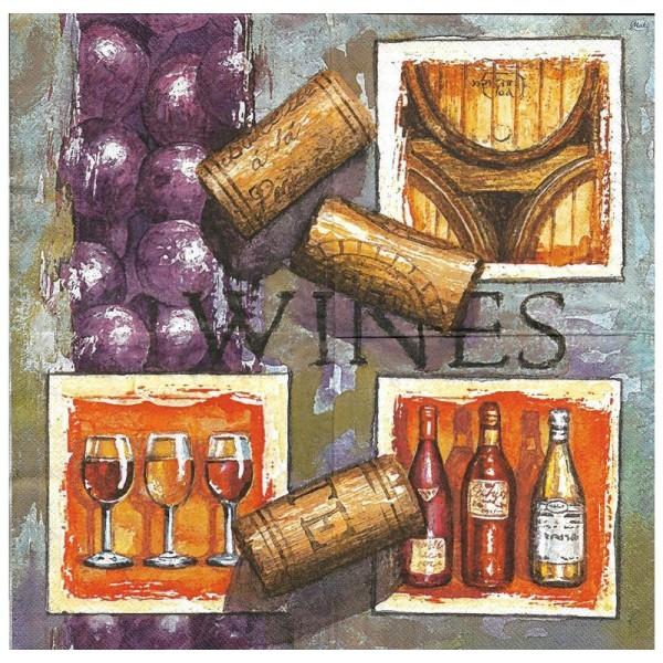 4 Serviettes en papier Vin Cave Raisin Format Lunch - Photo n°2