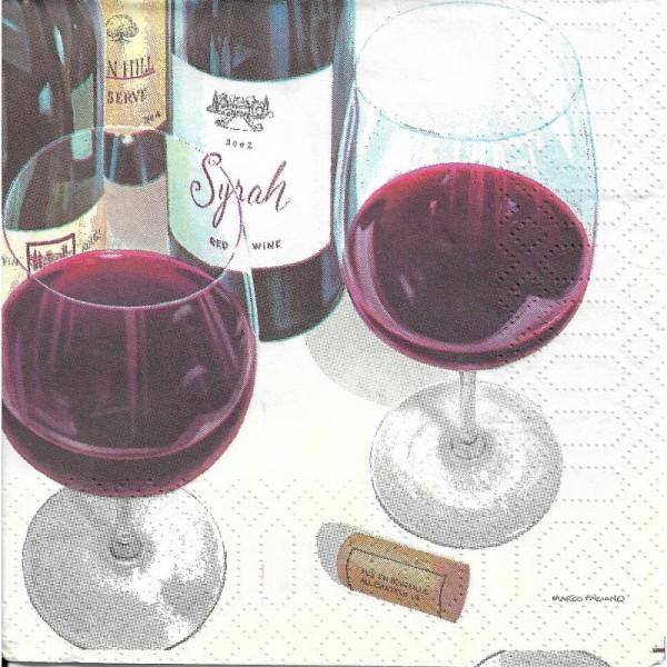 4 Serviettes en papier Vin Rouge Format Cocktail - Photo n°1