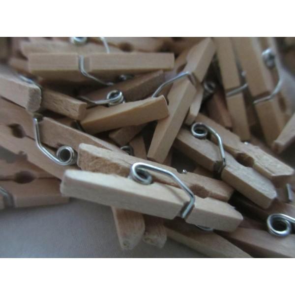 Mini pinces à linges en bois brut-2,5cm-20 pcs - Photo n°2