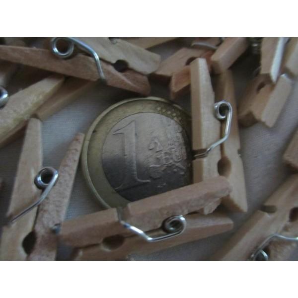 Mini pinces à linges en bois brut-2,5cm-20 pcs - Photo n°4
