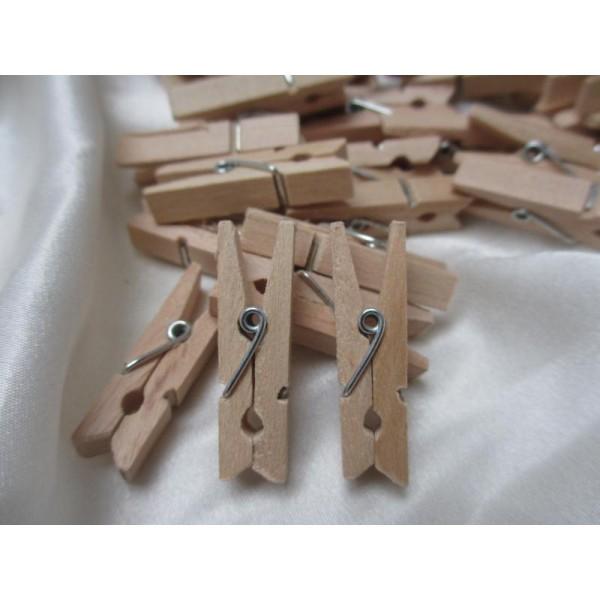 Mini pinces à linges en bois brut-2,5cm-20 pcs - Photo n°1