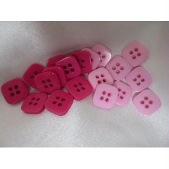 Boutons carrés, 4 trous,en résine,14mm  bi ton rose/violet 10 pces