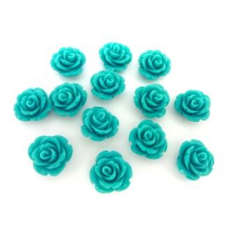 Perle Rose Ciselée Bleu Vert Turquoise En Résine 15mm
