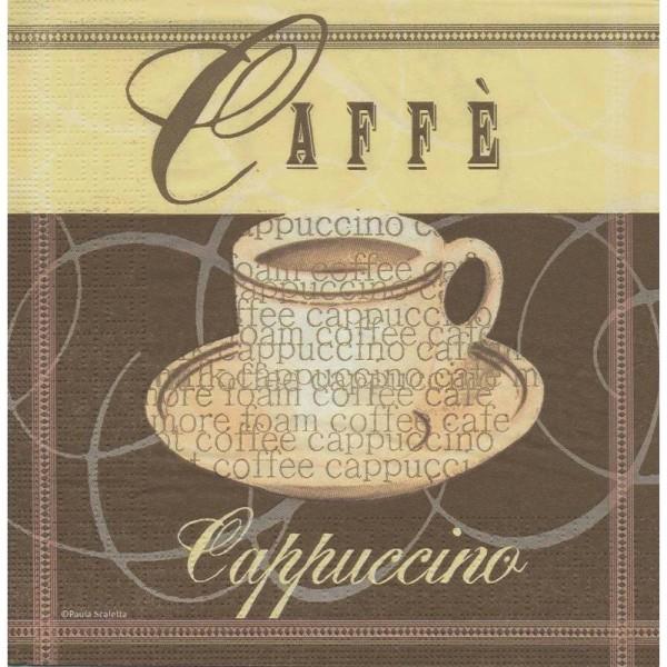 4 Serviettes en papier Café Cappuccino Format Cocktail - Photo n°1