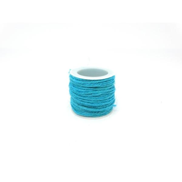 Ficelle de jute 2mm bleu turquoise - Photo n°1