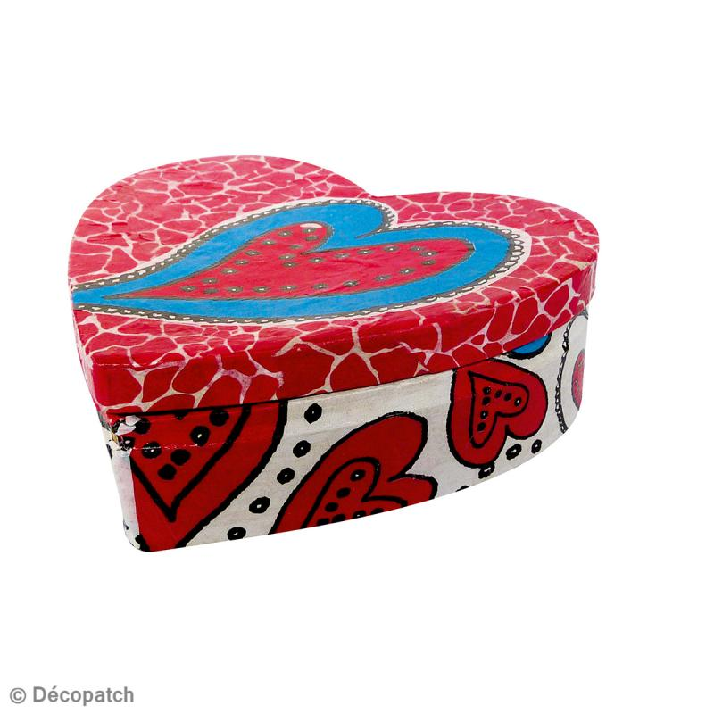 Boîte coeur en papier mâché - 9 cm - Photo n°2