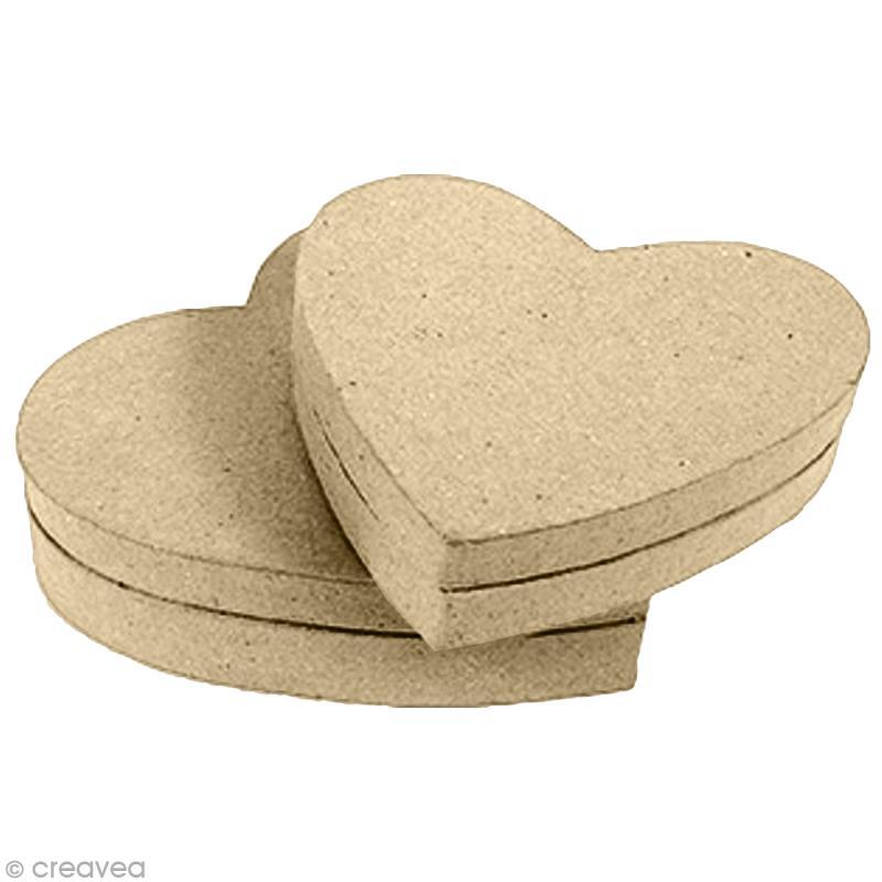 Boîte coeur en papier mâché - 9 cm - Photo n°1