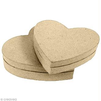 Boîte coeur en papier mâché - 9 cm
