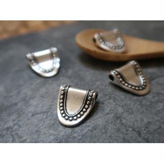Perles intercalaires goutte argenté, Métal argenté, 16x12 mm, 5 pcs