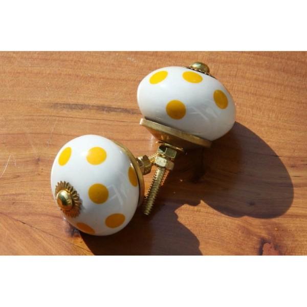 Bouton rond de porte ou tiroir, à pois jaunes,  de 38 mm de diamètre. - Photo n°2