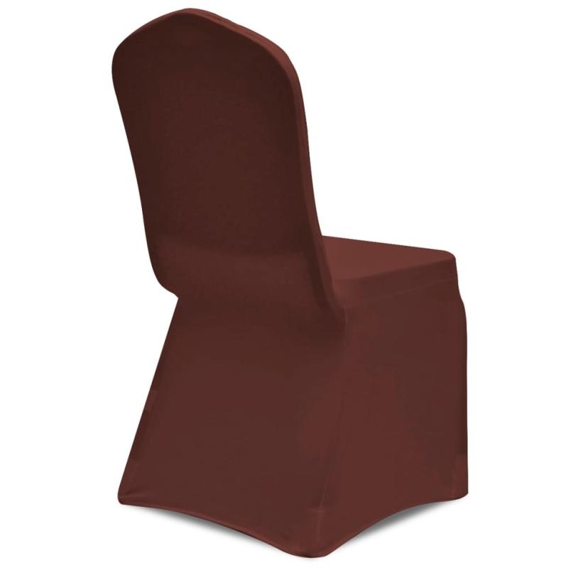 vidaxl housse de chaise extensible 6 pcs marron housses de coussin creavea. Black Bedroom Furniture Sets. Home Design Ideas