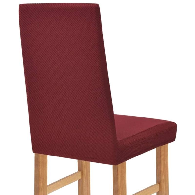 Vidaxl housse extensible de chaise 6 pi ces piqu bordeaux housses de coussin creavea - Housse extensible de chaise ...