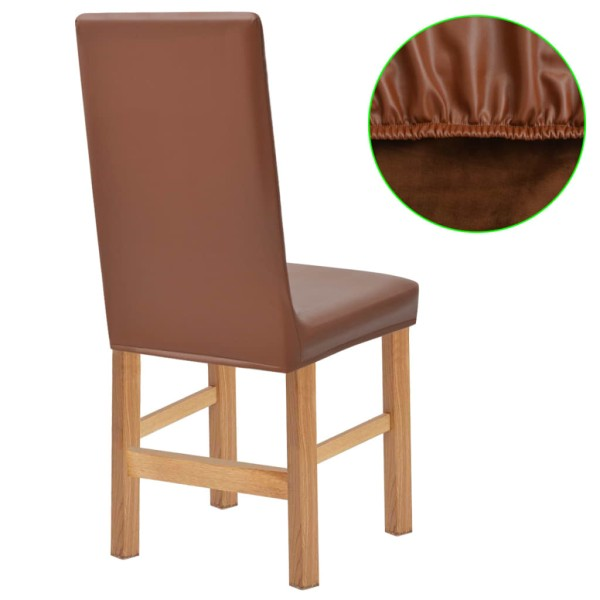 Vidaxl housse extensible de chaise 2 pi ces faux daim marron housses de chaise pour d coration - Housse extensible pour chaise ...