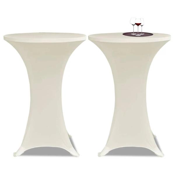Pcs Crème Extensible De Housse Table 60cm 2 hrsQdCxt
