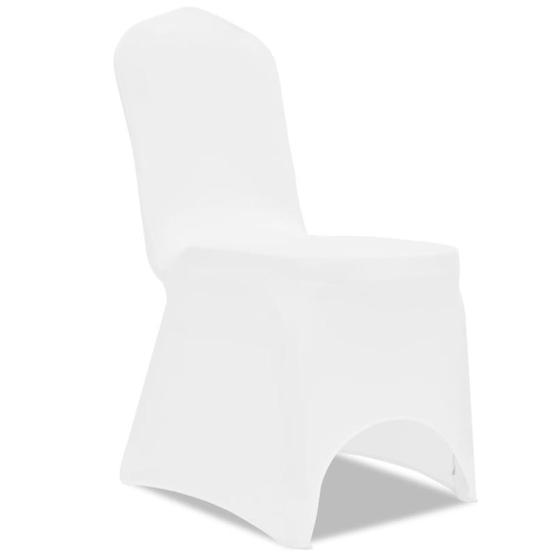vidaxl housse de chaise extensible 100 pcs blanc housses de coussin creavea. Black Bedroom Furniture Sets. Home Design Ideas