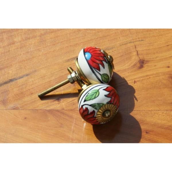 Bouton rond de porte ou tiroir, fleuri rouge,  de 35 mm de diamètre. - Photo n°2