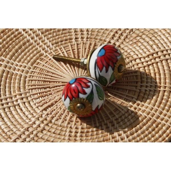 Bouton rond de porte ou tiroir, fleuri rouge,  de 35 mm de diamètre. - Photo n°3
