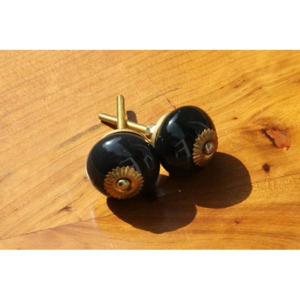 Bouton rond de porte ou tiroir, noir,  de 35 mm de diamètre. - Photo n°2