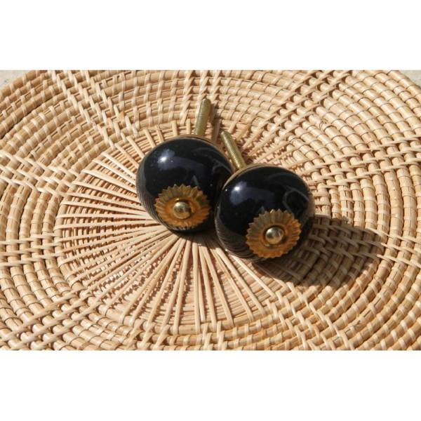 Bouton rond de porte ou tiroir, noir,  de 35 mm de diamètre. - Photo n°3