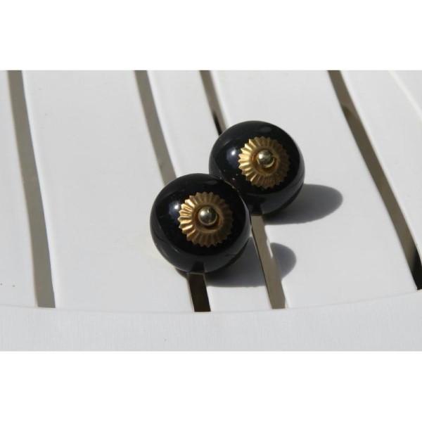Bouton rond de porte ou tiroir, noir,  de 35 mm de diamètre. - Photo n°1