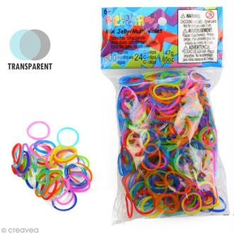 Recharge Rainbow loom 600 élastiques - Multicolore Jelly + 24 fermoirs
