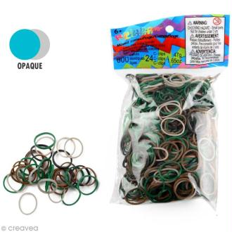Recharge Rainbow loom 600 élastiques - Camouflage + 24 fermoirs