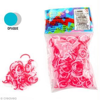 Recharge Rainbow loom 300 élastiques - Bicolore Rose et Blanc + 12 fermoirs