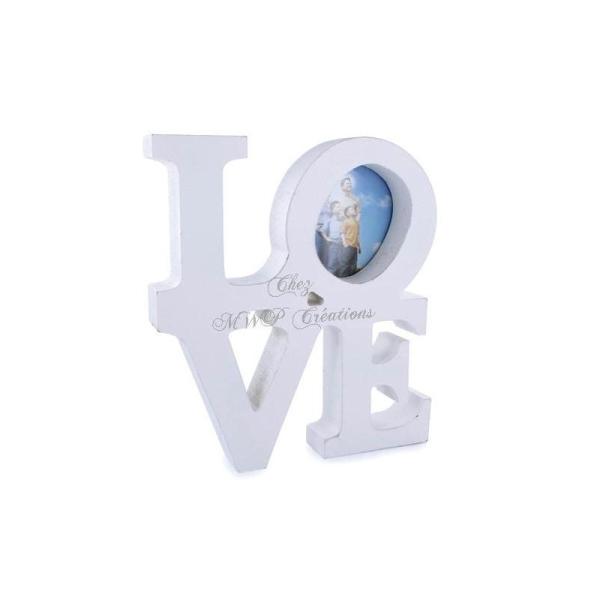 Cadre Photo En Bois, Love (20X18X3Cm) Blanc - Photo n°1