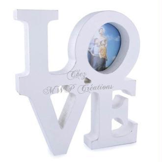 Cadre Photo En Bois, Love (20X18X3Cm) Blanc