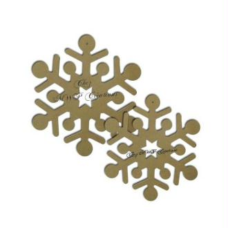 Flocons De Neige Mdf (Lot De 2: 19+22Cm )