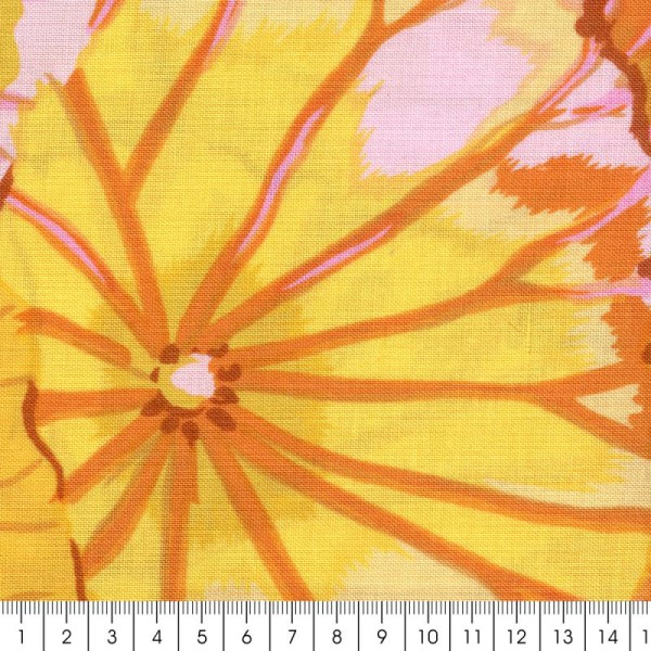 Tissu Kaffe Fassett - Lotus leaf Yellow - Par 10 cm (sur mesure) - Photo n°2