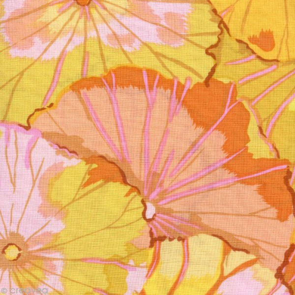 Tissu Kaffe Fassett - Lotus leaf Yellow - Par 10 cm (sur mesure) - Photo n°1