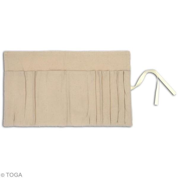 Trousse maquillage en tissu - Blanc cassé - 39 x 22 cm - Photo n°3
