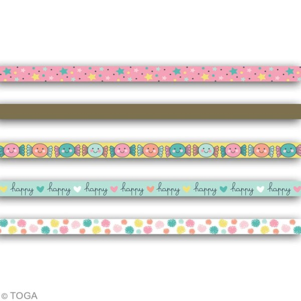 Masking tape slim Toga - Happy life - 5 pcs - Photo n°2