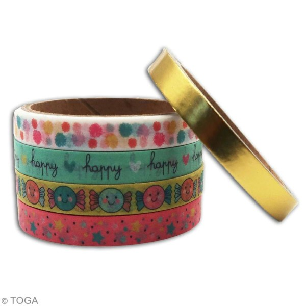 Masking tape slim Toga - Happy life - 5 pcs - Photo n°3