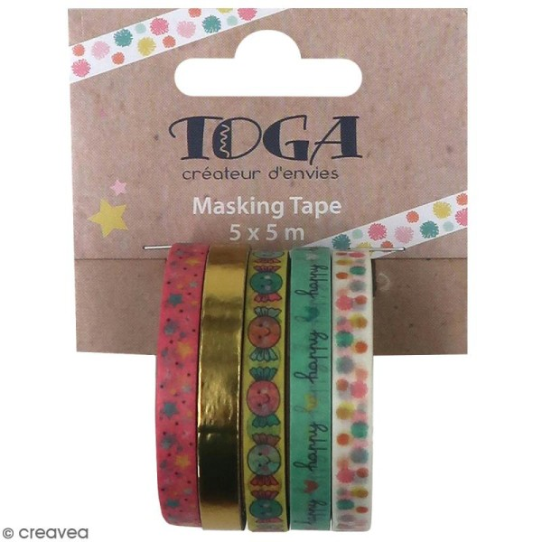 Masking tape slim Toga - Happy life - 5 pcs - Photo n°1