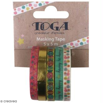 Masking tape slim Toga - Happy life - 5 pcs