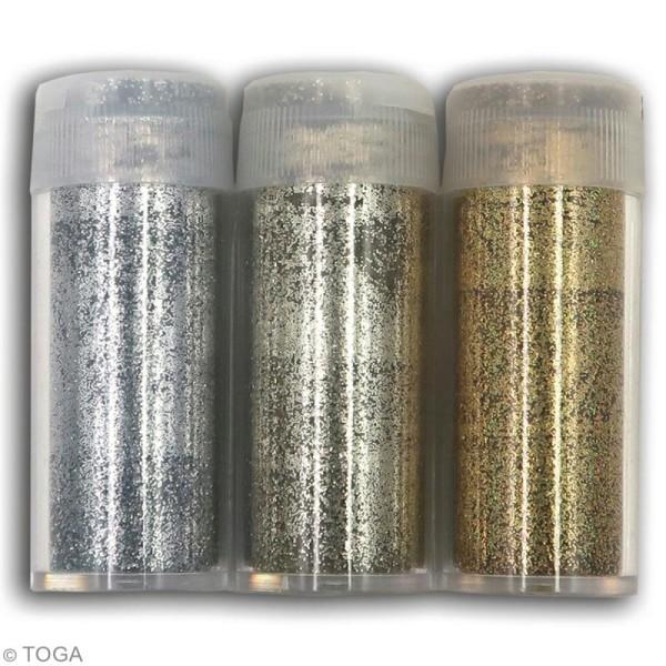 Assortiment paillettes extra-fines Oh Glitter Toga - Argenté, Doré, Champagne - 3 pcs - Photo n°2