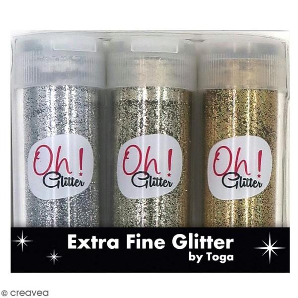 Assortiment paillettes extra-fines Oh Glitter Toga - Argenté, Doré, Champagne - 3 pcs - Photo n°1