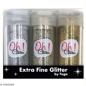 Assortiment paillettes extra-fines Oh Glitter Toga - Argenté, Doré, Champagne - 3 pcs