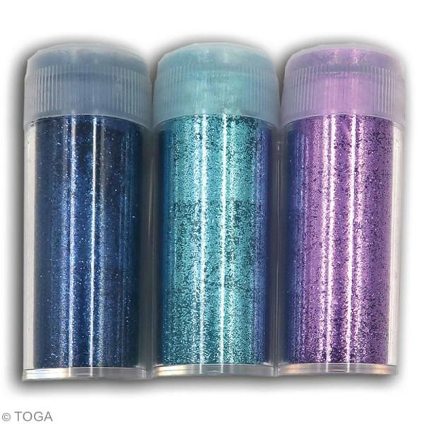 Assortiment paillettes extra-fines Oh Glitter Toga - Bleu nuit, Bleu clair, Violet - 3 pcs - Photo n°2