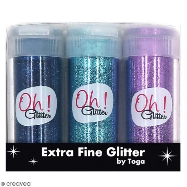 Assortiment paillettes extra-fines Oh Glitter Toga - Bleu nuit, Bleu clair, Violet - 3 pcs - Photo n°1
