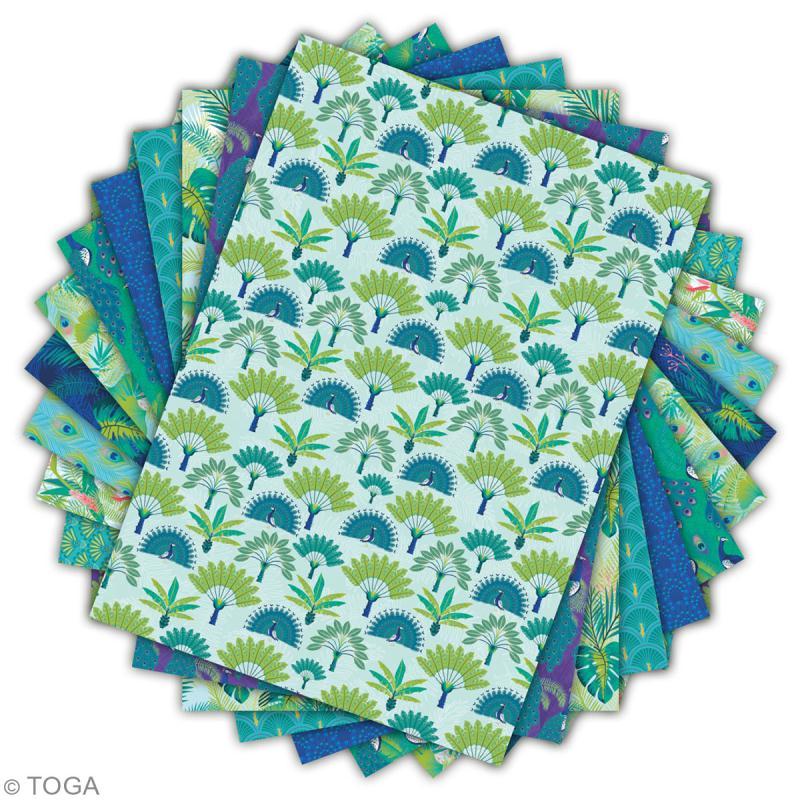 Papier scrapbooking A4 Toga - Color factory - Paon - 36 pcs - Photo n°2