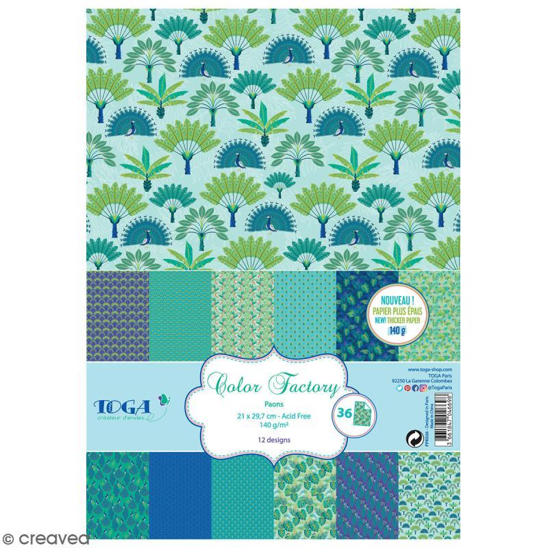 Papier scrapbooking A4 Toga - Color factory - Paon - 36 pcs - Photo n°1