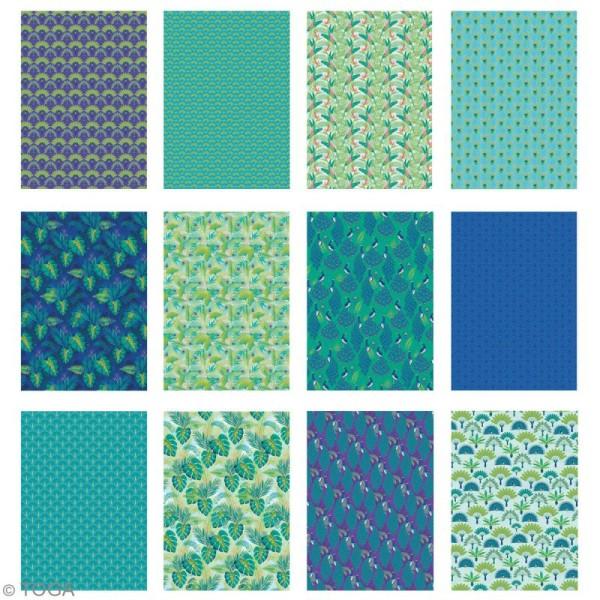 Papier scrapbooking A4 Toga - Color factory - Paon - 36 pcs - Photo n°3
