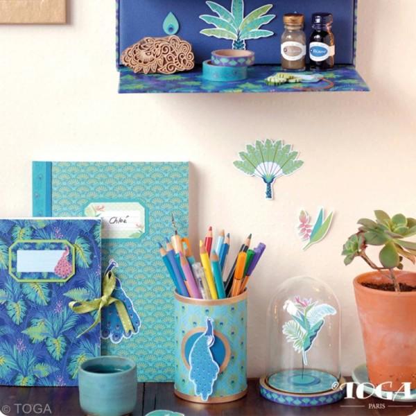 Papier scrapbooking A4 Toga - Color factory - Paon - 36 pcs - Photo n°5