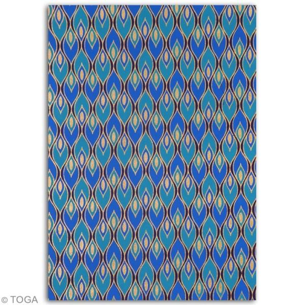 Papier l'Or de Bombay 27,8 x 21,2 cm - Bleu et Violet - 6 feuilles - Photo n°2
